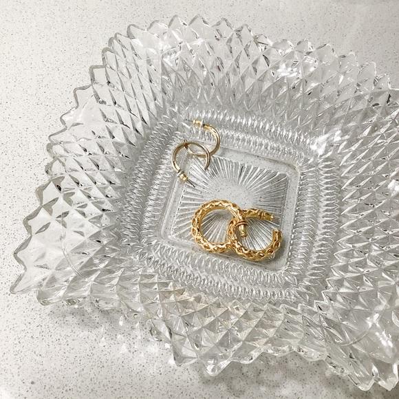 Vintage Square Glass Beveled Jewelry Dish